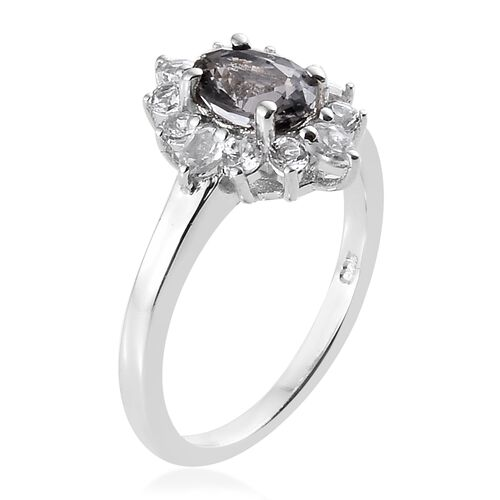 TJC Launch- Extremely Rare Platinum Spinel (Ovl), White Topaz Ring in Platinum Overlay Sterling Silver 1.500 Ct.