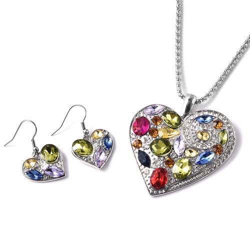 White & Champagne Austrian Crystal, Simulated Multi Gemstone Heart Hook Earrings and Pendant with Ch