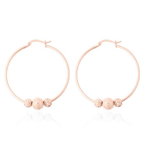 Rose Gold Overlay Sterling Silver Bead Hoop Earrings, Silver wt 5.60 Gms