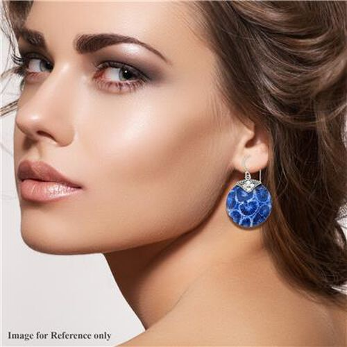 Royal Bali Collection - Blue Sponge Coral Hook Earrings in Sterling Silver