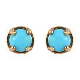 Arizona Sleeping Beauty Turquoise (Rnd) Stud Earrings in 14K Gold Overlay Sterling Silver 1.00 Ct.
