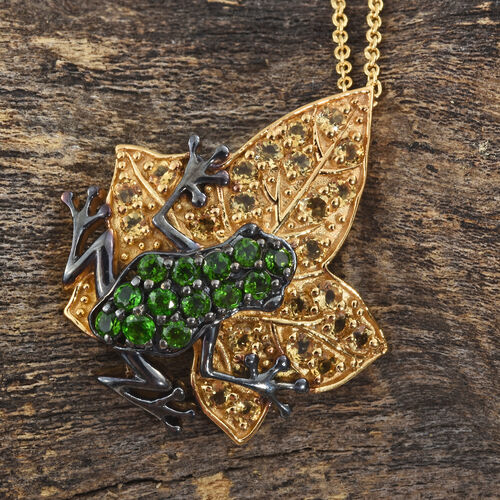 GP Russian Diopside (Rnd), Citrine and Kanchanaburi Blue Sapphire Frog On Leaf Pendant with Chain in 14K Gold and Black Rhodium Overlay Sterling Silver 2.750 Ct. Silver wt 7.51 Gms.
