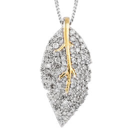 Designer Inspired- Diamond (Rnd) Leaf Pendant With Chain in Yellow Gold and Platinum Overlay Sterlin