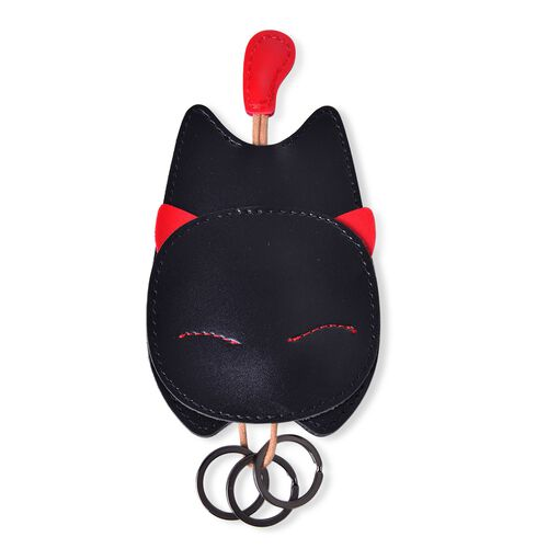 Black Colour Cat Design Bag with Key Ring Holder (Size 14X7.7 Cm)