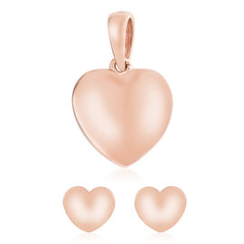 Rose Gold Overlay Sterling Silver Heart Pendant and Earrings (with Push Back)