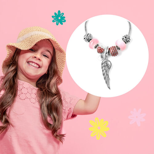 Charms Bracelet for Kids in Simulated Pink Colour Bead, Red Austrian Crystal Size 6.5 Inch with Silver Tone