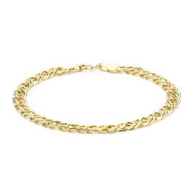 Diamond Cut Double Curb Chain Bracelet in 9K Yellow Gold 7 Inch