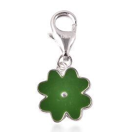 Charmes De Memoire Sterling Silver Green Enamelled Four Leaf Clover Charm