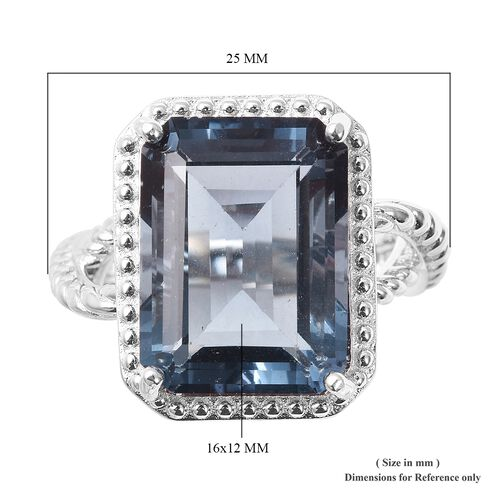 TJC Blue Natural Gemstone Solitaire Ring Teal Fluorite Silver Ring Gift