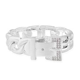 Designer Inspired- White Austrian Crystal (Rnd) Belt- Buckle Design Bangle (Size 7) in Silver Plated