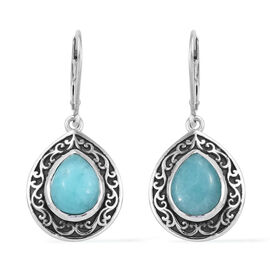 4.5 Ct Peruvain Amazonite Drop Solitaire Earrings in Platinum Plated Sterling Silver 7.48 Grams With