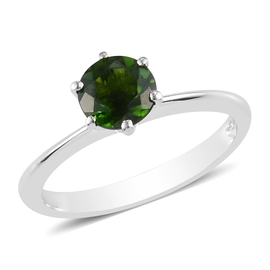 Russian Diopside Solitaire Ring in Platinum Overlay Sterling Silver 1.00 Ct.