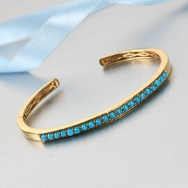 Arizona Sleeping Beauty Turquoise Cuff Bangle (Size 7.5) in 14K Gold Overlay Sterling Silver 2.750 C