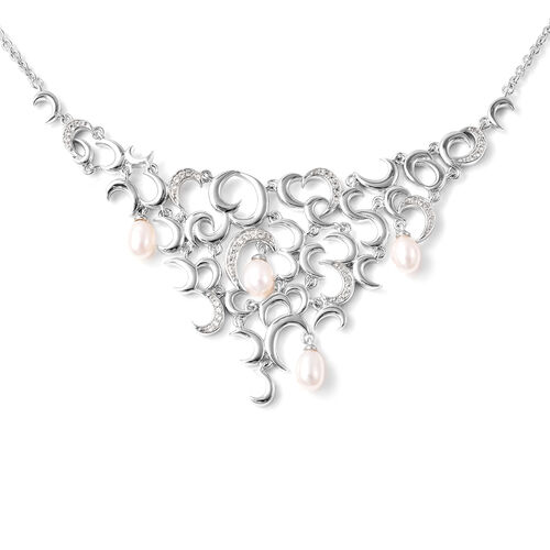 RACHEL GALLEY - Freshwater Pearl and Natural Cambodian Zircon Snowdrop Necklace (Size 18) in Rhodium
