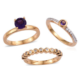Set of 3 - AA Amethyst (Rnd), Natural White Cambodian Zircon Ring in 14K Gold Overlay Sterling Silve