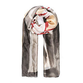 One Time Deal- Designer Inspired Silk Like Floral Printed Scarf - Multi