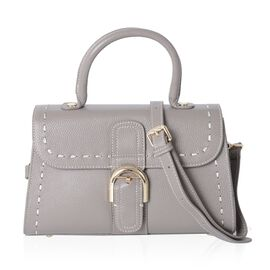 Mayfair Classic 100% Genuine Leather Grey Colour Tote Bag with Removable Shoulder Strap (Size 27x16.