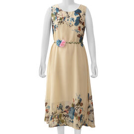Coffee Colour Plum Blossom Flower Pattern One Piece Dress