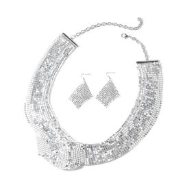 2 Piece Set - Retro Dazzling Collar Necklace (Size 22 with 5 Inch Extender) and Hook Earrings in Silver Tone