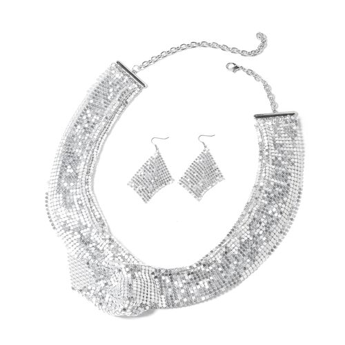 Collar Necklace (Size 22 with 5 Inch Extender) and Hook Earrings in Silver Tone