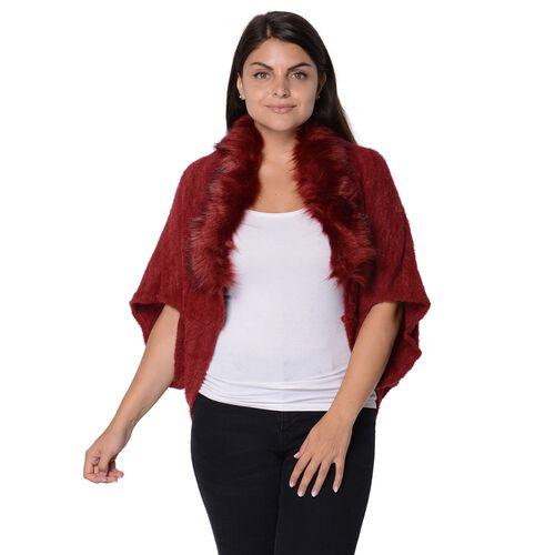 Ultra Soft Winter Kimono with Faux Fur Collar (Size 85x45 Cm)- Wine