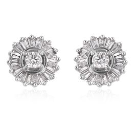 RHAPSODY 950 Platinum IGI Certified Diamond (Rnd) (VS/E-F) Stud Earrings (with Screw Back) 0.50 Ct.