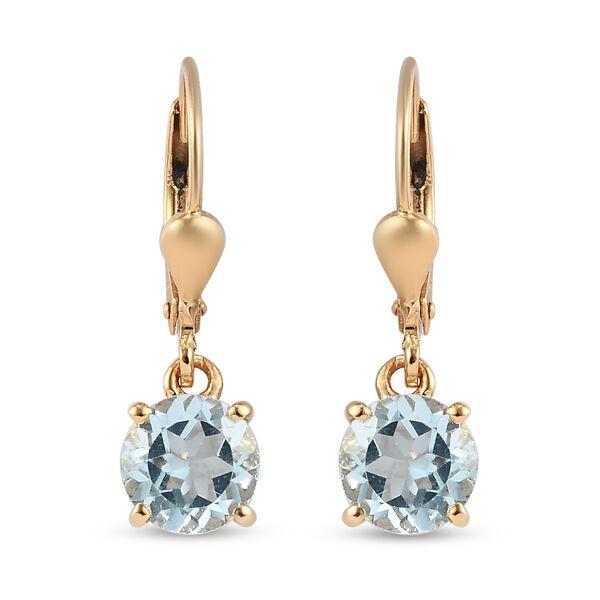 3 Carat AA Sky Blue Topaz Solitaire Drop Earrings in 14K Gold Plated Sterling Silver