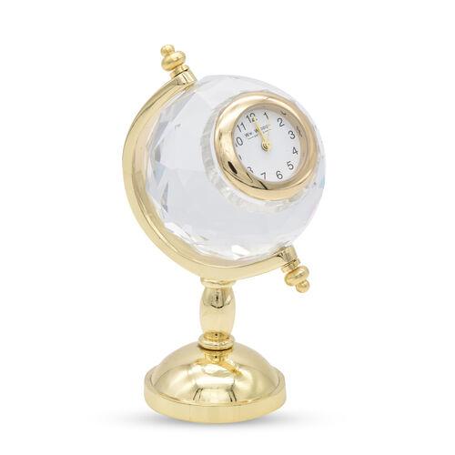 WILLIAM WIDDOP Miniature Globe Clock in Gold Tone