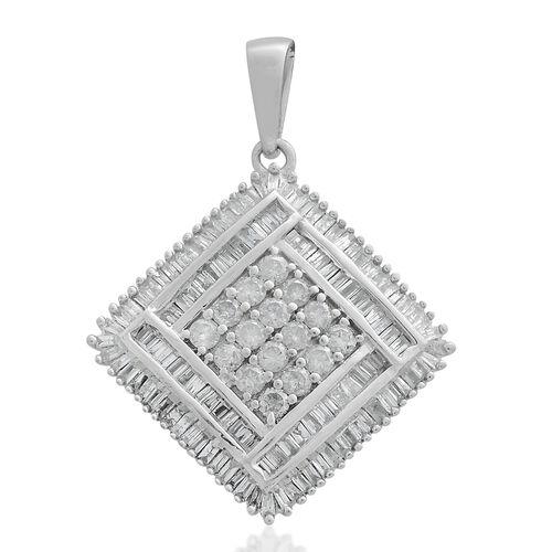 9K White Gold SGL Certified Diamond (Rnd) (I3/G-H) Pendant 1.000 Ct. Gold wt 3.76 Gms. Number of Dia