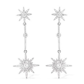 Simulated Diamond (Rnd) Star Dangle Earrings (with Push Back) in Silver Tone