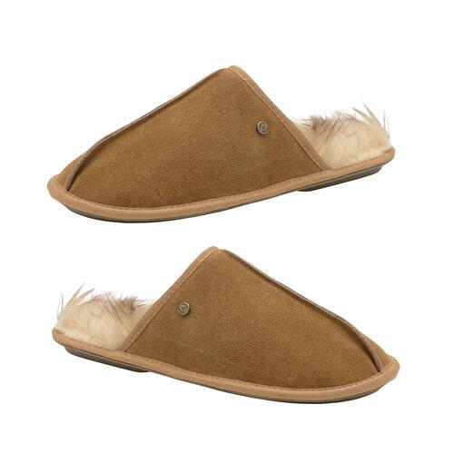 Dunlop Real Suede Memory Foam Fur Lined Mule Slippers (Size 11) - Tan