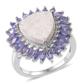 Meteorite (Trl 10.00 Ct), Tanzanite Ring in Platinum Overlay Sterling Silver 12.000 Ct.