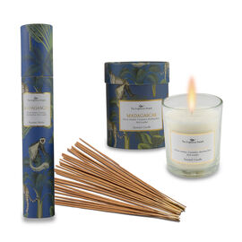 Home Decor - Set of 2 - Scented Glass Candles and Incense Stick Box with 30 Sticks (Madagascar- Flor