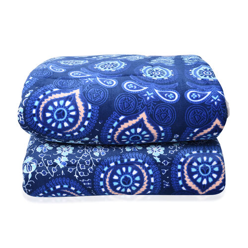 Set of 3 - Microflannel Mandala Printed Comforter in King Size with Sherpa Lining with 2 Sherpa Pillowcases - White, Light and Dark Blue Colour (230cm x 250cm)