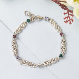 J Francis Crystal from Swarovski - Amethyst Colour Crystal, Emerald Colour Crystal and White Crystal Bracelet (Size 7.5)