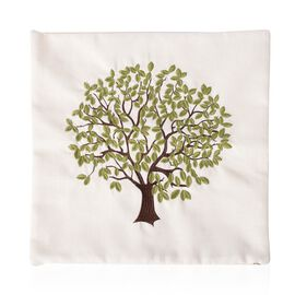 Limited Edition - White Colour Tree Embroidery Cushion Cover (Size 43x43 Cm)