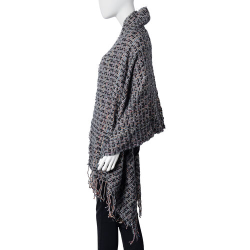 Stylish Tweed Look Full Tassels Large Black Scarf  (Size 180x68 Cm)