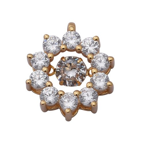 Simulated Diamond Pendant in Yellow Gold Overlay Sterling Silver