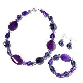 3 Piece Set - Purple Agate and Simulated Amethyst Necklace (Size 20), Stretchable Bracelet (Size 6.5