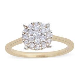 9K Yellow Gold SGL Certified Diamond (Rnd) (I3/G-H) Ring (Size Q) 0.500 Ct.