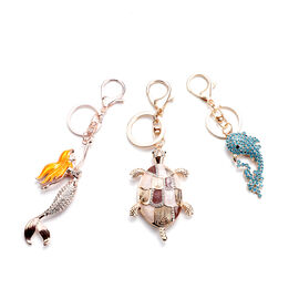 Set of 3 -  White and Blue Austrian Crystal Enamelled Mermaid, Turtle and Dolphin Keychain in Yellow