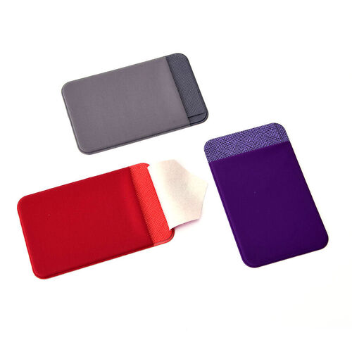 Set of 3 - Adhesive Stick On Wallet Card Holder Sleeve for Smartphones (Red, Purple and Grey)