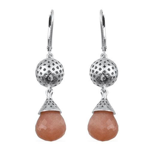 Morogoro Peach Sunstone Lever Back Earrings in Platinum Overlay Sterling Silver 15.000 Ct.