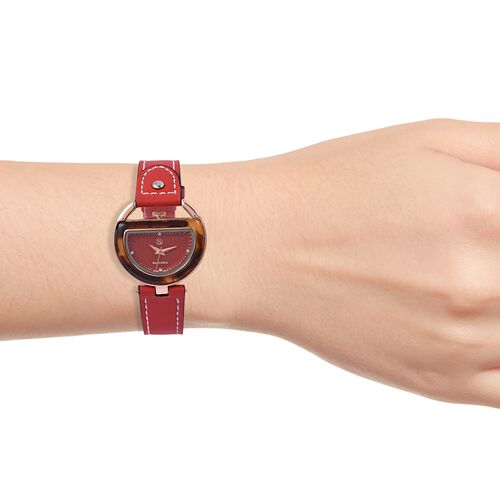 STRADA Japanese Movement White Austrian Crystal Red Dial Water Resistant Watch in Rose Tone with Red Strap
