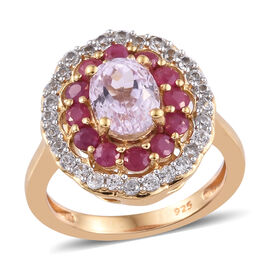 3 Carat Kunzite, Burmese Ruby and Zircon Halo Ring in Gold Plated Sterling Silver