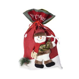3D Snowman Pattern Drawstring Bag (Size 34x54 Cm) - Red and Green