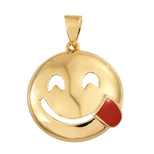 Savoring Food Face Smiley Pendant in Gold Plated Silver