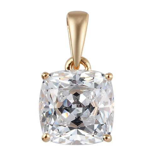 J Francis 9K Yellow Gold Solitaire Pendant Made with SWAROVSKI ZIRCONIA 2.50 Ct.