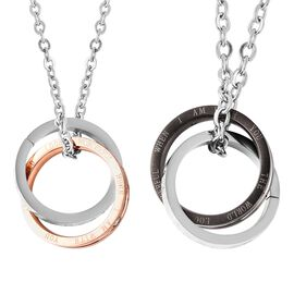 2 Piece Set White Austrian Crystal Ring Pendant with Chain in Two Tone Plated Stainless Steel