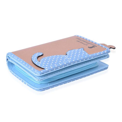 Cat Charm Light Copper and Blue Colour Wallet with Multiple Card Slots (Size 13X9X3 Cm)